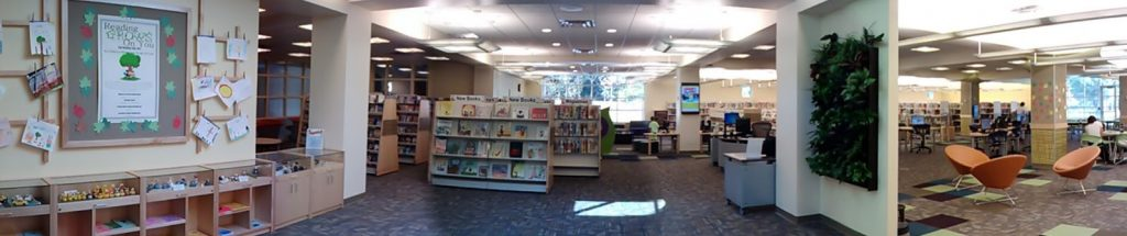 Panoramic from foyer of Children'' Services, Sachem Public Library