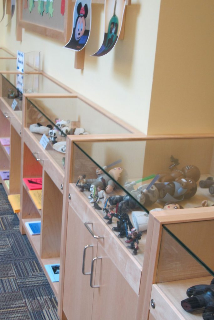 Custom display cases featuring children's collectibles