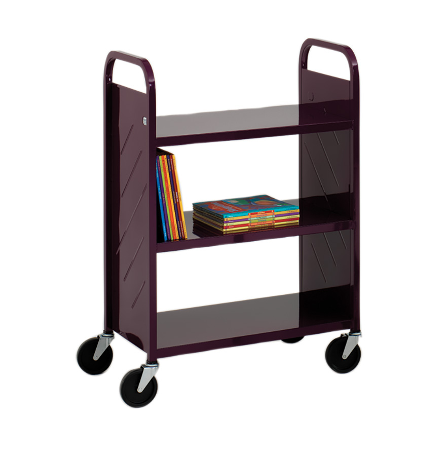 Demco Library Quiet Flat-shelf Booktruck