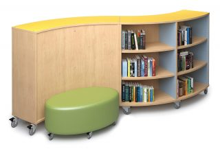 ColorScape® Mobile Freestanding Single-faced Curved Wood Library Shelving