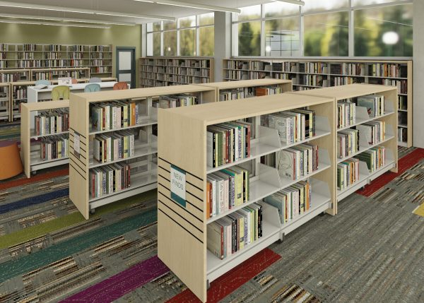 Demco® Mobile Steel Flat Library Shelving - Double-faced