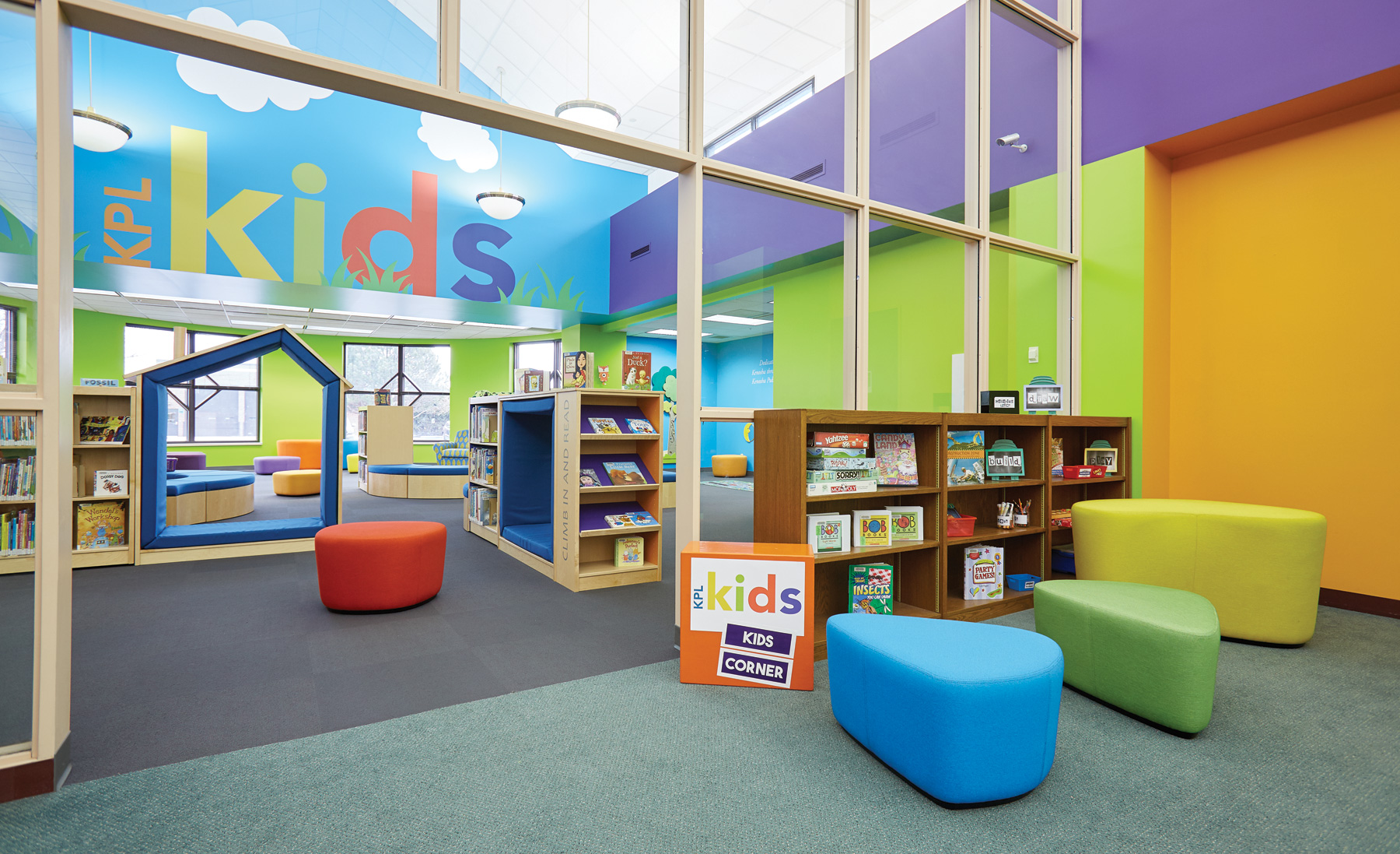 Kenosha Public Library's light, colorful and open library spaces.
