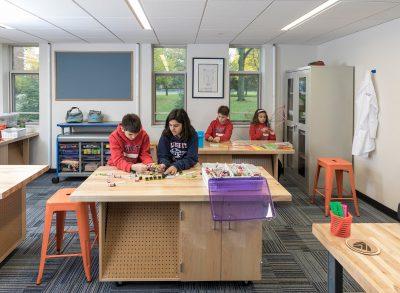 Kids working in Makerspace Classroom